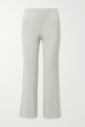 Skin Maddie Ribbed Cotton And Cashmere-blend Track Pants - Stone