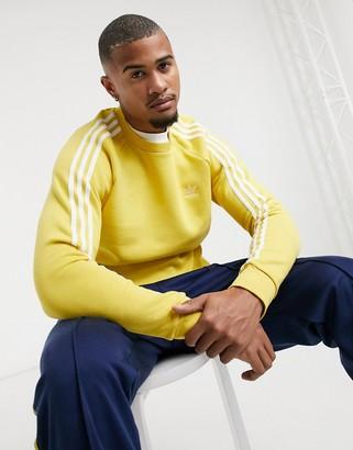 adidas 3 stripe sweatshirt in yellow