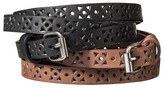 Mossimo Women's Narrow Perfortaed Belts - Set of 2 - Black & Brown