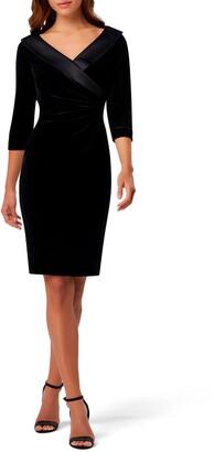 Tahari Ruched Portrait Collar Velvet Sheath Dress