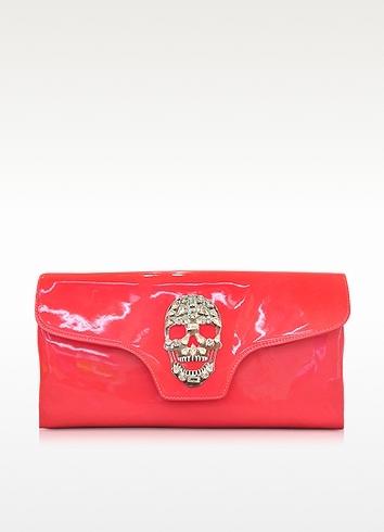 Philipp Plein Crazy Skull Leather Clutch
