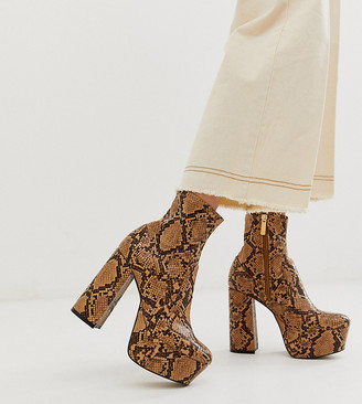 Office exclusive Another Level brown snake platform heeled ankle boots