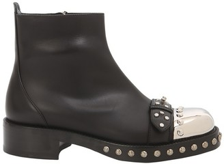 Alexander McQueen Black Leather Hobnail Studs Boots