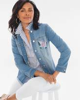 Chico's Hand-Painted Butterfly Denim Jacket