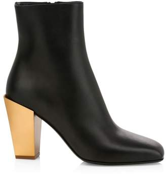 Salvatore Ferragamo Teti Metallic-Heel Leather Ankle Boots