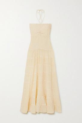 Evarae Phoebe Tiered Printed Silk Crepe De Chine Halterneck Maxi Dress - Yellow