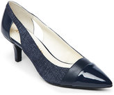 Anne Klein Navy First Class Pointed Toe Low Heel Pumps