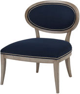 Massoud Furniture Alexis Side Chair, Navy Velvet