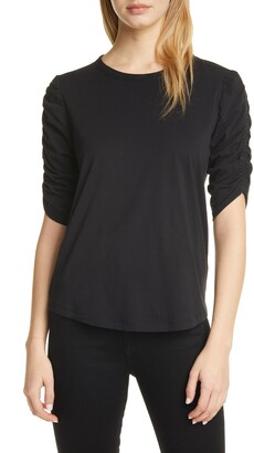 Veronica Beard Waldorf Ruched Sleeve T-Shirt