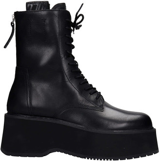 Ash Nirvana01 Combat Boots In Black Leather
