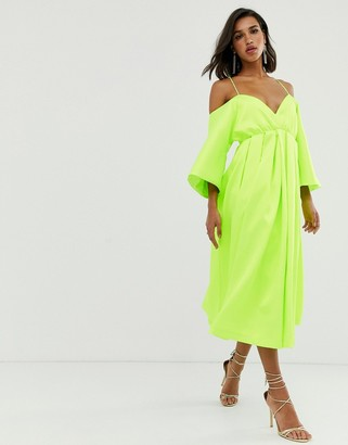 Asos Edition EDITION strappy structured trapeze dress-Green