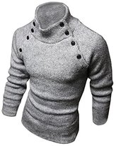 SODIAL(R) New Fashion Mens Turtleneck Slim Fit Long Sleeve Knit Cardigan Pullover Sweaters