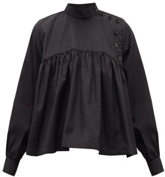 Noir Kei Ninomiya Button-front Gathered Cotton-poplin Blouse - Black