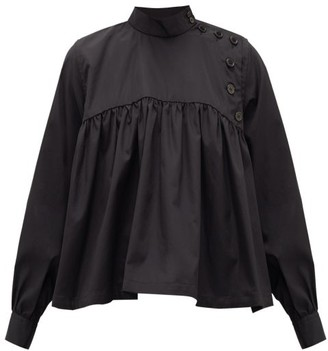 Noir Kei Ninomiya Button-front Gathered Cotton-poplin Blouse - Womens - Black