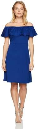 Star Vixen Women's Petite Stretch Fit-n-Flare Peasant Ruffle Dress