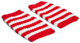 Gucci Men's Striped Knit Hand Warmer Gloves In White And Red