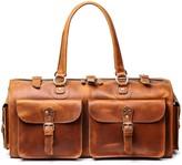 Touri Worn Look Genuine Leather Holdall In Worn Look Brown