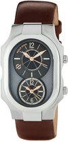 Philip Stein Teslar Large Signature Dual Time Zone Watch w/ Calfskin Strap, Black/Brown