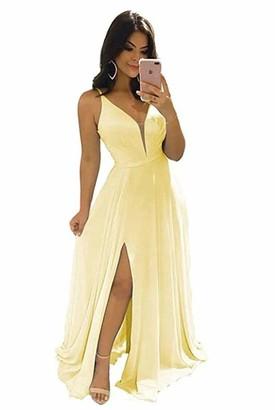 Leader of the Beauty Women's Blush V-Neck Spaghetti Strap Chiffon Bridesmaid Dresses Evening Dresses Prom Gowns UK10