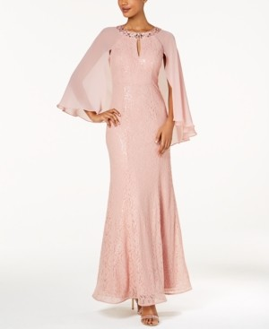 SL Fashions Petite Sequin Attached-Cape Gown