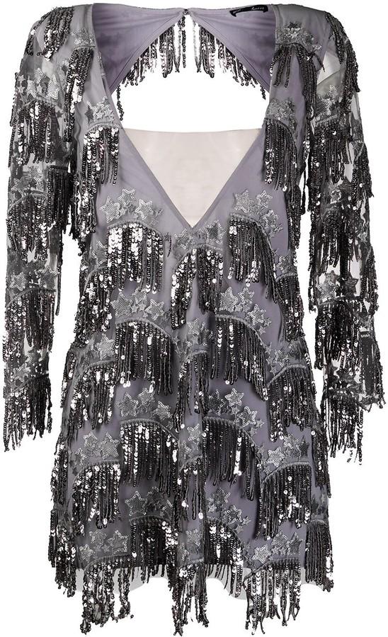 For Love & Lemons sequin fringe mini dress