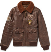 Polo Ralph Lauren G1 Appliquéd Shearling-trimmed Distressed Leather Bomber Jacket - Dark brown