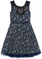 Knitworks Knit Works All Over Lace Dress with Belt and Jewel Neck - Girls' 7-16