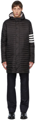 Thom Browne Black Down 4-Bar Quilted Hooded Coat