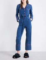 Mo&Co. Piped-detail denim jumpsuit