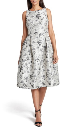 Tahari Metallic Jacquard Fit & Flare Sleeveless Dress