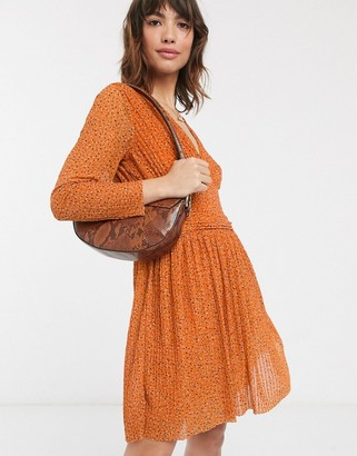 French Connection v-neck pleated spot printed jersey mini dress