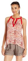 BCBGMAXAZRIA Women's Clementine Cut Out Tan Top