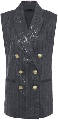 Brunello Cucinelli Double-breasted Embellished Herringbone Cotton-blend Vest