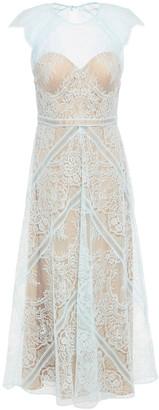 Catherine Deane Neko Cutout Layered Chantilly Lace Midi Dress
