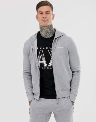 Armani Exchange logo zip through hoodie in grey