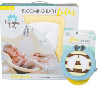Blooming Bath Blooming Baby Bath Gift Set - Gray Lotus & Ladybug Scrubbie