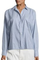 Vince Linen and Cotton Striped Split Back Shirt