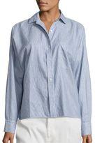 Vince Linen & Cotton Striped Split Back Shirt