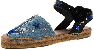 Dolce & Gabbana Blue Raffia And Black Leather Embellished Anchor Espadrille Sandals Size 36