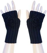 Black Rosette Fingerless Gloves