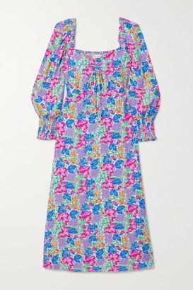 Faithfull The Brand Net Sustain Mathilde Shirred Floral-print Crepe Midi Dress - Blue