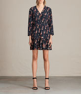 AllSaints Via Mitre Kirsch Silk Dress