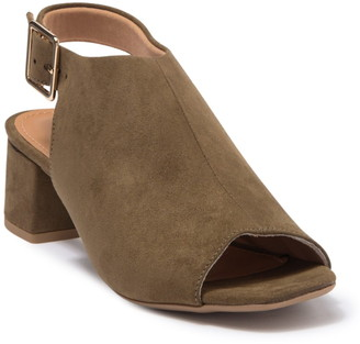 Offline Shoes Avery Suede Peep Toe Block Heel Sandal