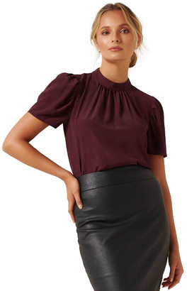 Forever New Tara High Neck Puff Sleeve Blouse