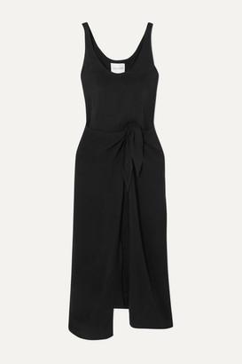 Anémone Cupro Wrap Dress - Black