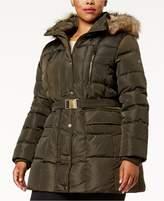 MICHAEL Michael Kors Size Faux-Fur-Trim Down Coat