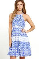 LuLu*s Hide Away Blue and White Print Halter Dress