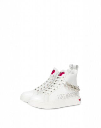 Love Moschino Hearts Chain High Sneakers Woman White Size 36 It - (6 Us)