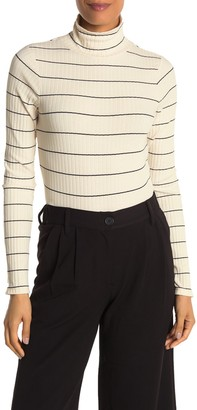 Vince Stripe Print Rib Knit Turtleneck Sweater