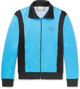Gucci Slim-Fit Appliquéd Jersey Zip-Up Sweater